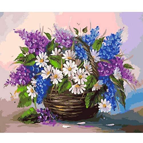 Wanddecoratie met cijfers om te knutselen, olieverfschilderij op canvas, decoratie voor thuis, margriet, bloem, woonkamer, wandset 50*60cm