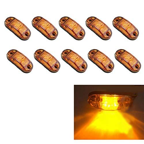 MuChangZi 10pcs LED Side Marker Light Despeje la lámpara 12V 24V Coche Camión Remolque Bus Luz Trasera Luces externas Luz de estacionamiento (Ámbar)