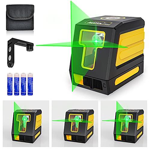 Kreuzlinienlaser Grüner Nivellierlaser Laser Wasserwaage Selbstnivellierend MESTEK 30M mit Magnetische Stativ Halterung Drehbar Batterien Tragetasche Rotation für Wandhausdecken Staub- Wasserdicht