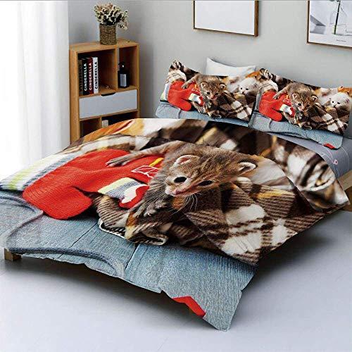 Juego de funda nórdica, gatitos y mitones Recién nacidos Animales de bebé en una manta lisa Juguetes de madera Juego de ropa de cama AdorableDecorative de 3 piezas con 2 fundas de almohada, multicolor