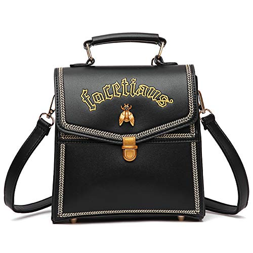 SZQLF Casual Vintage Women Backpack Little Bee Fashion Pu Leather Waterproof Simple Style Handbags
