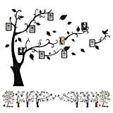 Baigio Woman Large Family Tree Wall Decals 3D DIY Photo Frame Wall Stickers Mural for Living Room Sofa TV Art Wall Background (Black-Left)