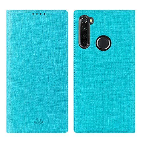WUYOU für Xiaomi Redmi Note 8T Hülle Hülle Premium PU Leder Handyhülle Brieftasche-Stil Magnetisch Folio Flip Klapphülle Schutzhülle Mit StandfunktionTasche Cover (Note 8T, Blau)
