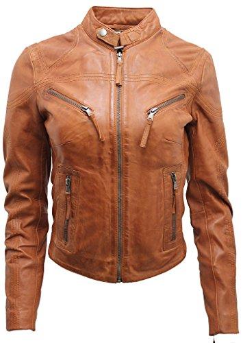 Infinity Frauen-beiläufige Braun lederne Motorradfahrer Jacke 14
