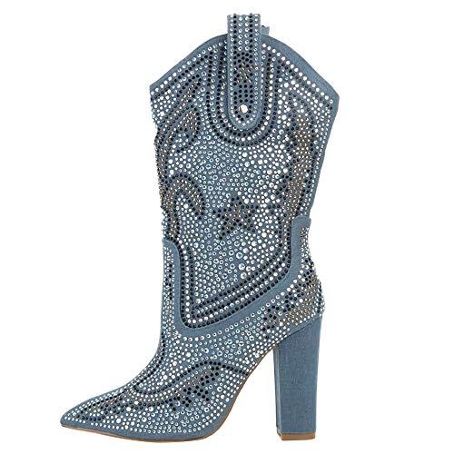 Botas Altas hasta la Rodilla de tacón Grueso y Sexy para Mujer con Plataforma de Diamantes de Colores de Cuero Zapatos de Fiesta de Fiesta de Club Nocturno de Invierno