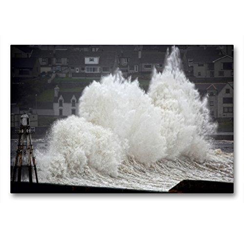 CALVENDO Premium Textil-Leinwand 90 x 60 cm Quer-Format Wick, Sturm im Hafen, Caithness, Schotland, Leinwanddruck von Martina Cross