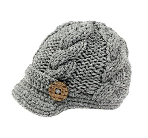 Bestknit Gorro de punto para bebé niño de ganchillo Newsboy de fotografía con visera botones sombrero