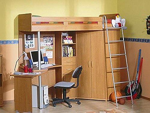 SMARTBett Etagenbett Jugendzimmer Set mit Leiter Rechts Erle