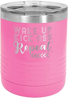 WAKE UP KICK ASS REPEAT PINK 10 oz Drink Tumbler with Lid   Yeti Lowball Style Stainless Steel Travel Mug   Engraved Coffee Cup With Funny Quotes   OnlyGifts.com