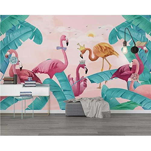 Shuangklei aangepast milieuvriendelijk Scandinavische verse tropische planten tv achtergrond behang 3D 350 x 250 cm.