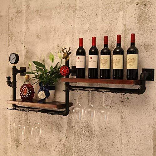 Mengyuan Talleres De Botella De Vino, Madera Rústica Y Botella De Metal Negro Botella De Vapor Punk Flotante Barra Estante, Botella De Vino Puerta Vino Vino Tubo Industrial Estantería