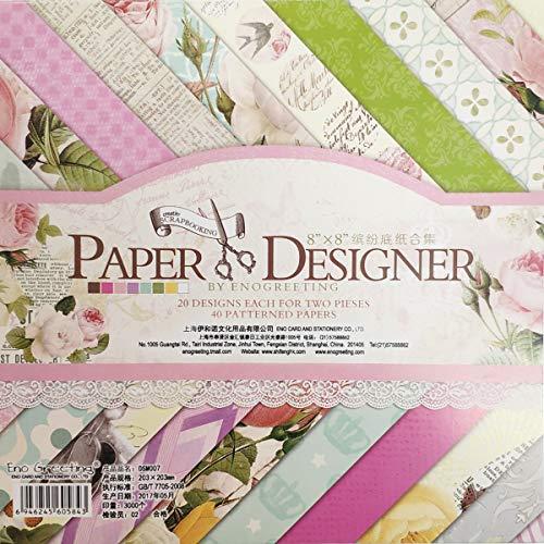 YXJD 40 Blatt Scrapbooking Papier Gemustertes Karton Bastelpapier mit Vintage Design für DIY Handwerk Foto Hintergrund Deko 8x8 Zoll (007)