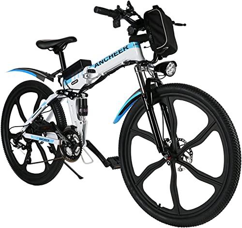 ANCHEER Bicicletta elettrica pieghevole, mountain bike elettrica 26'' con ruota integrata a 6 razze in lega di super magnesio, sospensione completa Premium E-Bike e cambio Shimano a 21 velocità
