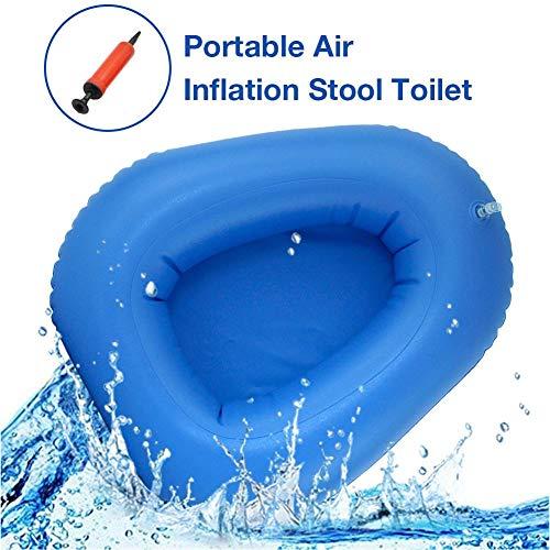 Ingeniously Waschbar Tragbare Luftpumpe Blaue Bettpfanne Aufblasbare Betttoilette Im Alter von Im Alter von Trinkwasser Pflegewerkzeug Glatt Leicht zu reinigen mit Handpumpe (Blau) 40x36x10cm
