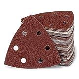 50 piezas triangulares de lijado delta, 6 orificios, 93 x 93 x 93 mm, grano 60, para lijadora delta, hojas de lijado, triangulares