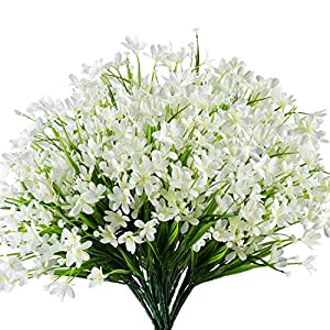 URSTOUD 6 Bundles Artificial Daffodils Flowers, Fake Artificial Greenery UV Resistant No Fade Faux Plastic Plants for Wedding Bridle Bouquet Indoor Outdoor Garden Kitchen Office Table Vase (White)