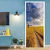 SJYHNB Puerta Pegatinas Mural Camino del centeno 3D Door Sticker Wallpaper Desmontable Sticker Poster DIY Art Decoration 77 x 200cm(An x Al)