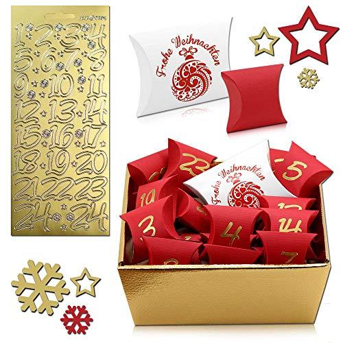tumundo Adventskalender Zum Befüllen 26-teilig Weihnachtskalender Zum Basteln Weihnachten Geschenkbox Kinder Kalender