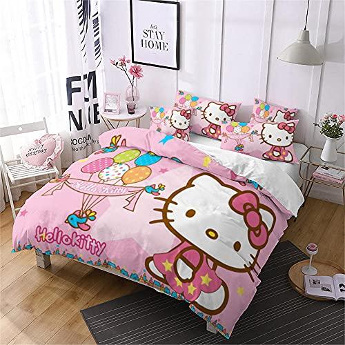 copripiumino singolo hello kitty Comoda Morbida Microfibra Poliestere Copripiumino Hello Kitty / Gatto Cartoon Rosa 135X200 Cm Con Cerniera + 2 Federa Copripiumino Singolo 135X200