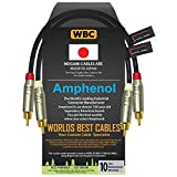 1 Foot – Directional Quad High-Definition Audio Interconnect Cable Pair Custom Made by WORLDS BEST CABLES – Using Mogami 2534 Wire and Amphenol ACPR Die-Cast, Gold Plated RCA Connectors