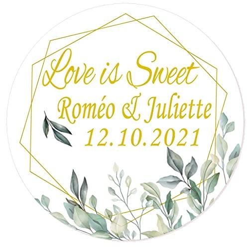 MameArt 50 Piezas Pegatinas Boda Personalizadas Love is Sweet Flowers Nombres y Fecha, 4cm Etiquetas Perfecto para Invitaciones Matrimonio Boda Fiesta (Flores 4)