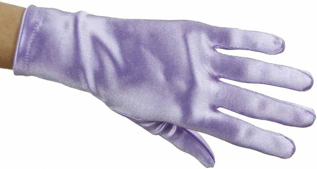 Greatlookz Beautiful Wrist Length Short Satin Gloves in Lavender