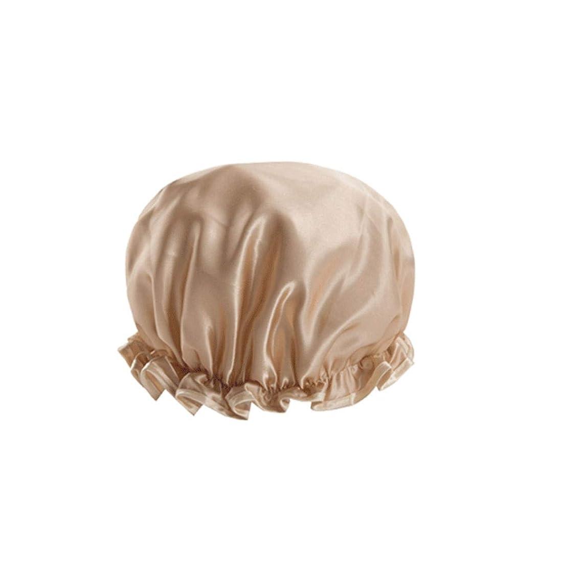 誤解を招く輸送最少XIONGHAIZI シャワーキャップ、シャワーキャップ、女性用防水ロングヘアハット、シャワーダブルシャワーキャップ、家庭用台所用オイル、スモークプルーフシャワーキャップ、ピンク、シャンパン、 (Color : Champagne)