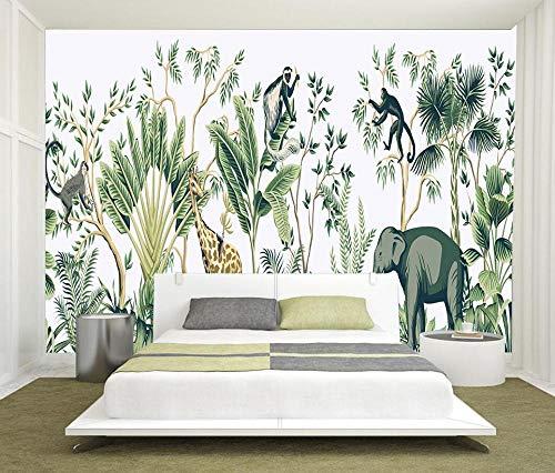 Behang met de hand geschilderd tropisch regenwoud dier achtergrond muurschildering woondecoratie woonkamer 3D behang-350 * 256cm