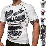 Khroom® Herren Funktionsshirt Kurzarm atmungsaktiv im Helden Design (Black Spiderman weiß, XL)