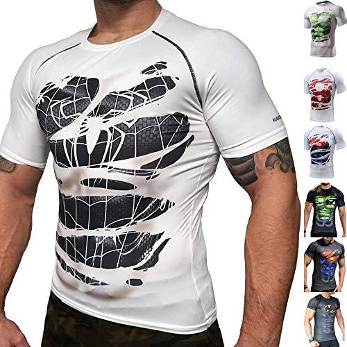 Khroom Camiseta de Compresión de Superhéroe para Hombre Ropa Deportiva de Secado Rápido para Ejercicio, Gimnasio, Musculación, Running. Material Extensible Ventilado Anti Transpiración (Spiderman XL