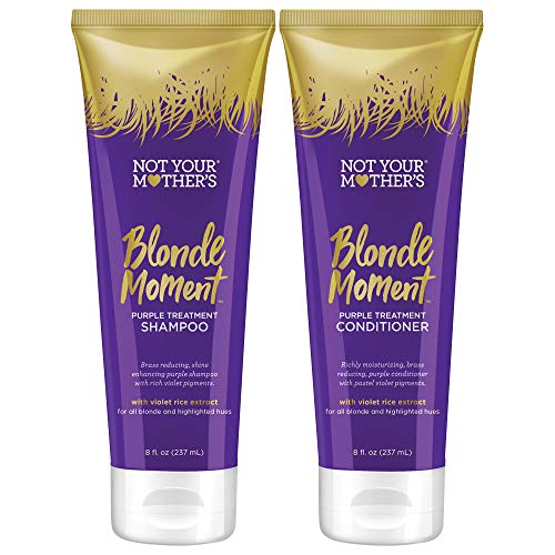 Not Your Mother's Blonde Moment Purple Shampoo and Conditioner Duo pack, 8 Ounce (1 of each) for women with blonde, gray, or light hair.