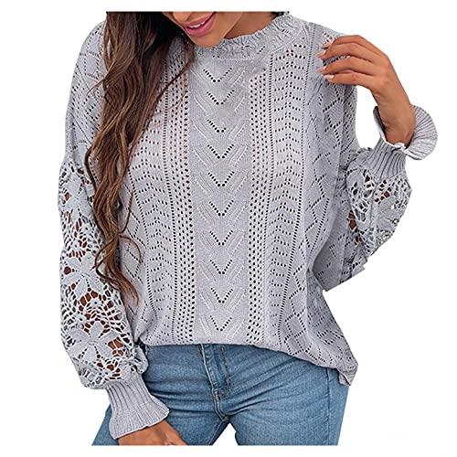 SHIZUANYUE - Jersey para mujer con cuello en V, corte ajustado, camiseta de manga larga, suéter para otoño e invierno con botones, túnica de gran tamaño, blusa suelta con encaje, gris, XL