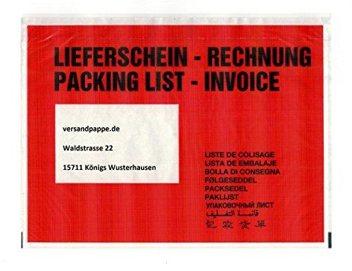 250 St. selbstklebende C5 Dokumententaschen 235 x 175 mm Lieferscheintaschen Rechnungstaschen