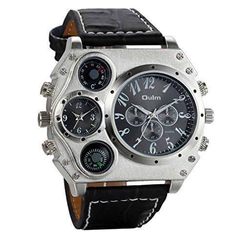 Avaner Grande Reloj Deportivo Militar para Hombre 3 Zonas de Horario Diferente, Reloj de Piloto Correa de Cuero Cuarzo Analogico, Diseño Llamativo Original (modelo6)