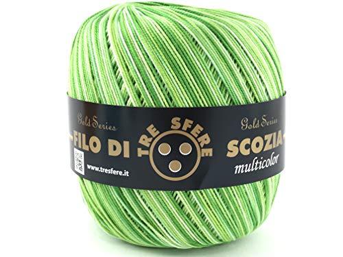 Filo di Scozia Multicolore per Uncinetto (sfumato Verde)