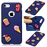 LAXIN Phone Case for iPhone 7 / 8 Protective Cover Ultra Slim Thin Silicone Rubber TPU Gel Bumper Shock Proof with 3D Pattern - French Fries and Burgers