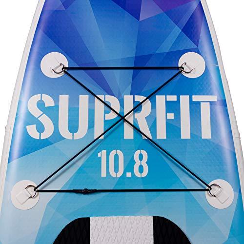 Suprfit SUP Board I Stand up Paddle Board I Komplettset: Paddelboard, Transporttasche, Paddel, Luftpumpe, Sicherungsleine, Reparaturset I Modell Iwalani: 330 x 78 x 15 cm | max. 130 kg
