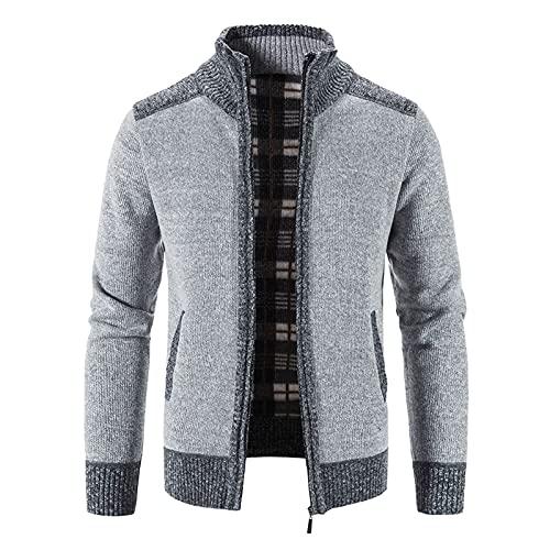 Luckycat Jersey Hombre Invierno Chaqueta de Punto con Cremallera Abrigo de Suéter de Cuello Alto de Manga Larga Chaqueta de Punto a Cuadros Cálida Sobretodo de Punto Delgada Suéter