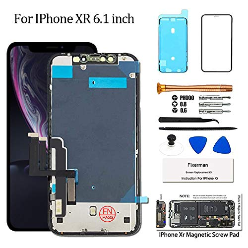 for iPhone Xr Screen Replacement 6.1 inch(with Metal Shield),Compatible with Model A1984, A2105, A2106, A2108,LCD Display Touch Screen Digitizer Assembly with Complete Repair Tools