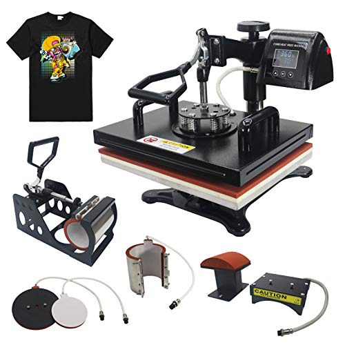 "RoyalPress 12"" x 15"" Heat Press 5 in 1 Color LED Sublimation Heat Transfer 360-degree Rotation Professional Multifunction Combo Heat Press Machine Hat/Mug/Plate/Cap/T-Shirt Black (12""x15"" 5 in 1)"