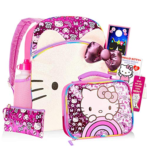Hello Kitty Backpack and Lunch Box Set for Kids Boys Girls ~ 8 Pc 16' Kitty Backpack, Insulated Lunch Bag, Water Bottle, Stickers, and More (Hello Kitty Party School Supplies Bundle)