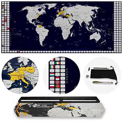 TRAVORLD | Weltkarte zum Rubbeln in Deutsch | Ultrabreites und modernes Design (100x43cm) | mit nützlichem Zubehör und Geschenkverpackung