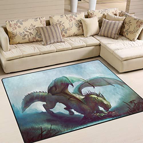 Mr.Lucien Alfombra de área para dormitorio, diseño de dragón feroce, tamaño king, interior decorativo, para jardín, oficina, suelo, alfombra antideslizante para cocina, baño, 160 x 122 cm 2020257