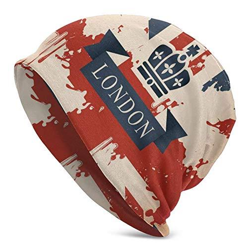 Maleta de Viaje Vintage con Bandera británica Imagen de Cinta y Corona de Londres Gorro Unisex Gorro de Punto Gorro de Calavera Pullover Cap Sombreros