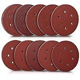 Navaris Set de 100x papel de lija - Papeles para lijadora excéntrica de 150 MM - 10 unidades de grano P40 P60 P80 P100 P120 P180 P240 P280 P320 P400
