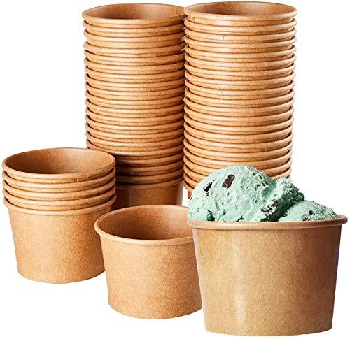 DeinPack Umweltfreundliche Universal Karton mit PLA für EIS, Dessert, Fingerfood, Vorspeisen, Snacks I 50 Stück Speisebecher braun unbedruckt 150 ml runde kompostierbar