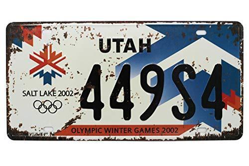 UTAH SALT LAKE 2002 449S4 OLYMPIC WINTER GAMES 2002 Vintage Auto License Plate, Embossed Tag Size 6' X 12'