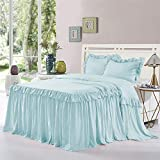HIG 3 Piece Ruffle Skirt Bedspread Set - Aqua Color 30 inches Drop Ruffled Style Bed Skirt Coverlets Bedspreads Dust Ruffles - Alina Bedding Collections Queen Size - 1 Bedspread, 2 Standard Shams