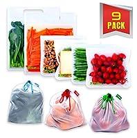 再利用可能なサンドイッチバッグ 再利用可能なメッシュバッグ付き [9個パック] 密閉 漏れ防止 高品質 子供用 スナックバッグ BPAフリー 冷凍庫バッグ - 素晴らしい組み合わせ - 極厚食品グレード素材使用