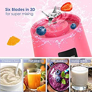 Portable Blender, Personal Blender with USB Rechargeable Mini Fruit Juice Mixer,Personal Size Blender for Smoothies and Shakes Mini Juicer Cup Travel 380ML(Pink)